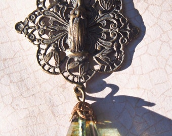 Bronze Virgin Mary Filigree Necklace with Glass Dangle