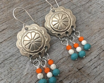 Western Inspired Concho Silver Chandelier Earrings Beaded Turquiose, Ivory and Orange Vintage Upcycled