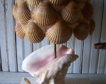 Vintage Lamp Hand Created of Natural Sea Shells Shabby Beach Cottage Decor Casual Charm Funky Unique OOAK Sturdy Construction
