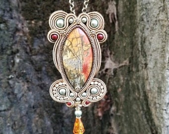 Soutache embroidered pendant