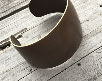 Brass Cuff One Size Layering Bangle 36mm 18ga