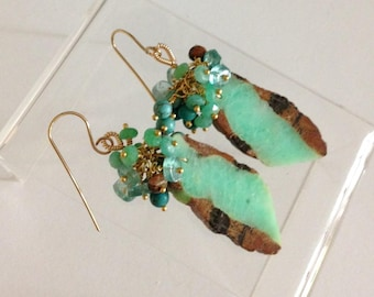 RESERVED: Ashira Matching Slices Green Nugget Chrysoprase Gemstone Earring, Cluster of Unakite, Magnesite, Chrysoprase, Apatite Wire Wrapped