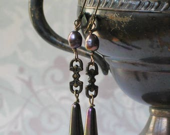 Art Deco Iris Glass and Pearl Earrings/ 1920's/  Downton Abbey Inspired/ Great Gatsby Style