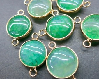 Green Agate 15mm round connector beads with gold plating wrapped- Double Bail- #18