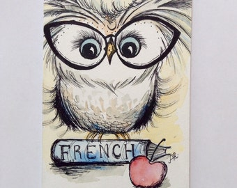 French Student Owl, Original Pen and Ink Drawing with Watercolor, School Owl, Painting 4x6