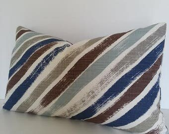 Both Sides / All Sizes / Navy Blue Stripe Chevron Decorative Pillow Cover / Brown Chevron / Blue and White