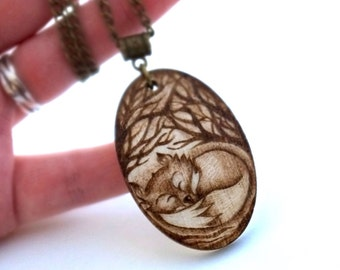 Sleeping Fox Cub Hand Burned Pyrography Pendant Necklace