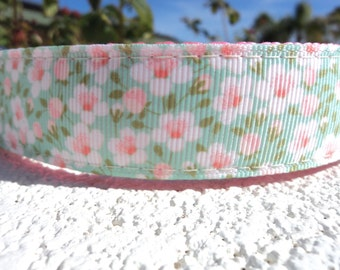 "Sale Girl Dog Collar 1"" Quick Release or Martingale collar style Mint Floral - sizes S - XL - see details for info"