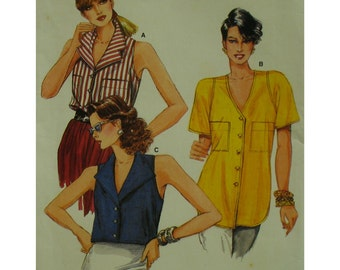 Cut-in Shoulder Blouse Pattern, Collar/V-neck, Long/Short, Sleeveless/Short Sleeves, Pocket, Button Front, Vogue No.9586 UNCUT Size 12 14 16