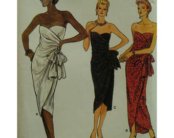 Strapless Evening Gown Pattern, Fitted, Heart Shaped Bodice, Side Drape, Asymmetrical Hemline, Foundation, Boning, Vogue No. 9285 Size 14
