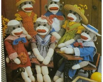 "Sock Monkeys Pattern, Clothes, Boys and Girls, Dresses, Pants, Toys, Simplicity No. 9073 UNCUT Size 22"" (56cm)"
