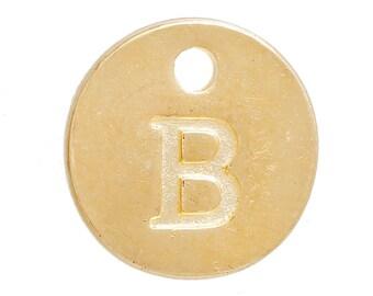 Gold Letter B Alphabet Charm 12mm
