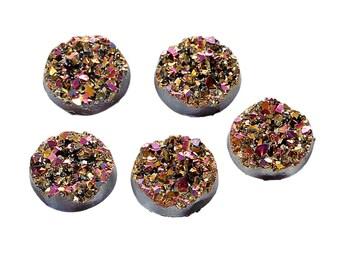 6 Druzy Quartz Fushia AB Color On Black Cabochon 12mm