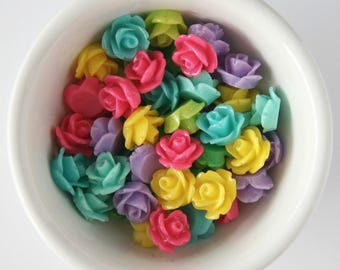 12 Piece Spring Mix 10mm Rosette Cabochon Great for Earrings and Bobby Pins DIY Jewelry Making