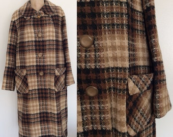 1970's Brown Plaid Pea Coat Vintage Winter Coat Size XL by Maeberry Vintage