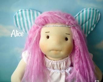 Alice, waldorf doll, fabric doll, natural fiber doll, fabiluli