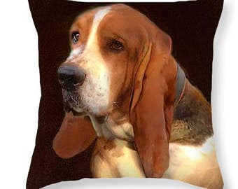 Custom Pet Portrait Pillow with your dog or cat. 14 x 14 inches. 100% heavy cotton. Printed both sides. Insert included.
