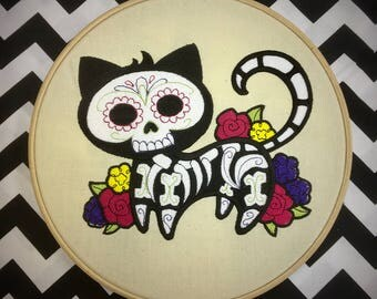 Sugar skull kitty embroiderd Wall Art