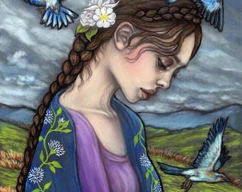 Adar Rhiannon goddess birds Celtic fine art print by Tammy Mae Moon