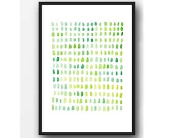 Abstract Watercolor print, abstract watercolor painting green dots Pantone 2017