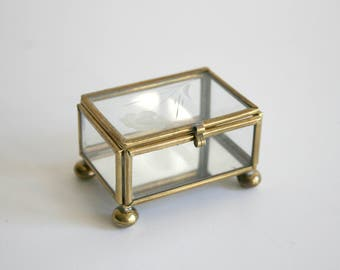 SALE Small Glass Trinket Box
