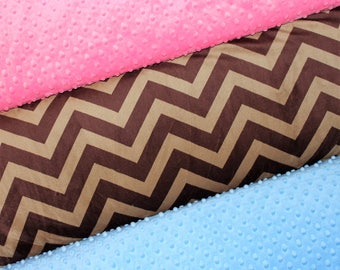 Custom Personalized Brown Chevron Minky Baby Blanket, Brown and Pink, Brown and Blue, Double Minky, Baby Girl or Boy, Rustic Nursery Bedding