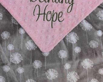 DANDELION Baby Girl Minky Blanket, PERSONALIZED Custom Baby Blanket, Pink and Gray, Double Minky, Custom Blanket with Name - Choose Colors