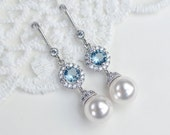 Bridal Earrings, Bridal Pearl and Aquamarine Cubic Zirconia Earrings, CZ and Pearl Earrings, Wedding Jewelry, Bridal Jewelry,Dangle Earrings