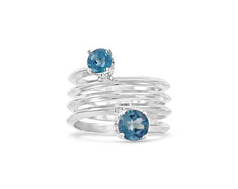 Blue Topaz Spring Ring , Wrap Band Double Gemstone Two Toned Ring Size 5 - 9.5
