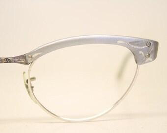 Unused Gray Aluminum cat eye eyeglasses 1/10 12k Gold Filled vintage cat eye glasses frames Cateye frames NOS