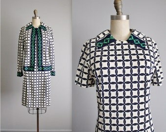 Mod 60's Dress Set // Vintage 1960's Navy White Geometric Print Pleated Shift Dress Jacket M L