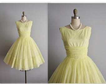 50's Chiffon Dress// Vintage Lemon Yellow Chiffon Full Wedding Party Prom Dress S
