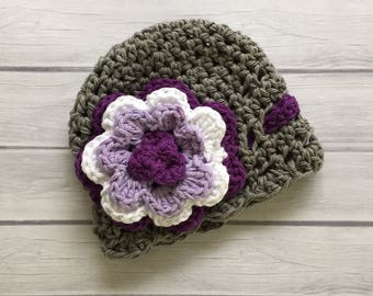 Crochet  baby hat, newborn baby hat, purple baby hat, baby shower gift, newborn photo prop, baby girl hat, knit baby hat, newborn girl hat