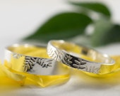 Silver Botanical Wedding Bands: A Set of his and hers Sterling Silver wedding rings