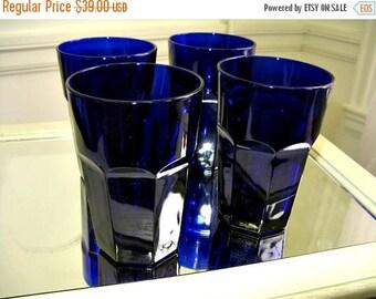Vintage Cobalt Blue Glasses Libbey Gibralter Tumblers