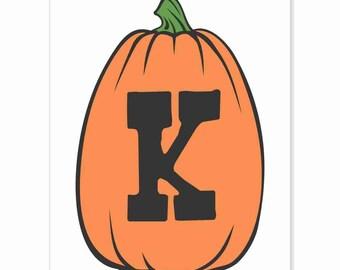 Printable Digital Download DIY - Fall Art Monogram Pumpkin - TALL K - Print frame or cut out for seasonal Halloween decorating orange black