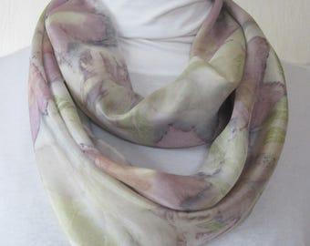 New silk scarf .Eco printed.Leaf pattern.Natural dye.Habotai silk scarf.Handmade.Eco dye. Multicolor. grey,green, yellow,brown, purple, red