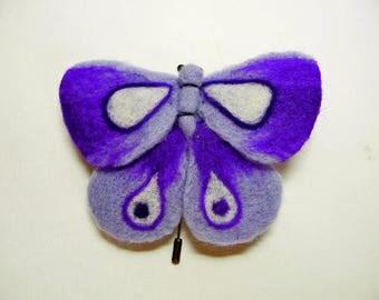 """A felt brooch - """"Purple moth"""""""