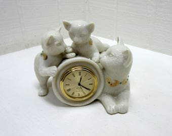 Vintage Lenox China Jewels Collection Figurines Cat Clock