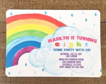 printable rainbow birthday invitation, rainbow party invite, custom rainbow birthday party, digital rainbow invite