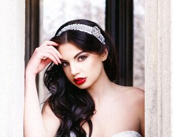 Vintage Inspired Bridal Rhinestone Headband with White tulle details, Vintage Wedding, Rhinestone Headband, Crystal Headpiece