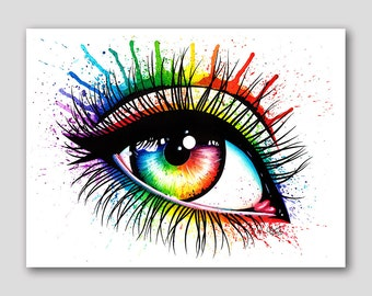 18x24 inch Pop Art Poster - Eye III - Hand Signed Fine Art Print - Edgy Alternative Rainbow Eye Artwork