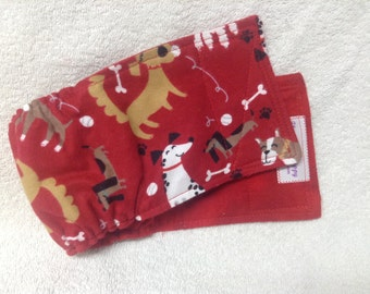 Male Dog Belly Band Diaper Pet Panties Doggie Wrap Pants Cotton Dogs On Red Flannel Fabric Custom Sizes To 30 Inches