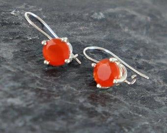 Carnelian Earrings , Sterling Silver Earrings , Carnelian Jewelry Gift For Women , Orange Gemstone Earrings