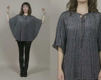 Pleated Poncho Metallic Black Cape Silver Lurex 70s Top Angel Sleeves 1970s Glam Sparkle / OS One Size