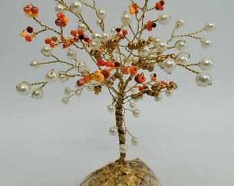 Pearl  white and orange tree, pearls tree, wire tree sculpture  ,beaded tree, tree of life  , desk decor, mothers day gift,girls room decor