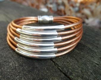 Multi-Strand Metallic Bronze Leather Cuff Bracelet with Silver Tube Beads