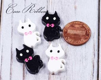 12~24 pcs 24x13mm Cute Cat Kitty kittens Mixed Color Kawaii Flatback Resin Cabochons H10