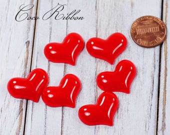 12pcs 22mm Red Valentine Heart Flatback Resin Cabochons Diy Phone case Deco H01