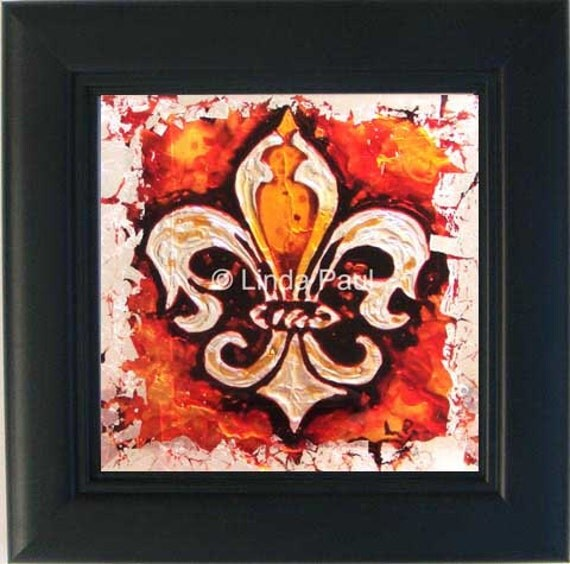 Items Similar To Fleur De Lis Framed Art Painting Fleur